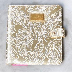 NWT Lilly Pulitzer Gold Print Agenda Folio Case